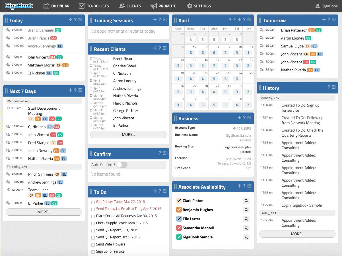 GigaBook Business Dashboard Screenshot