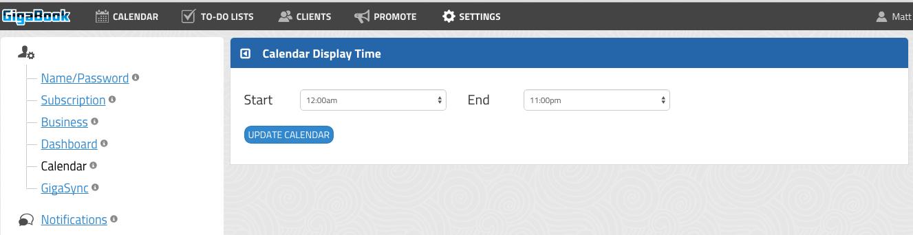GigaBook Calendar Display Settings