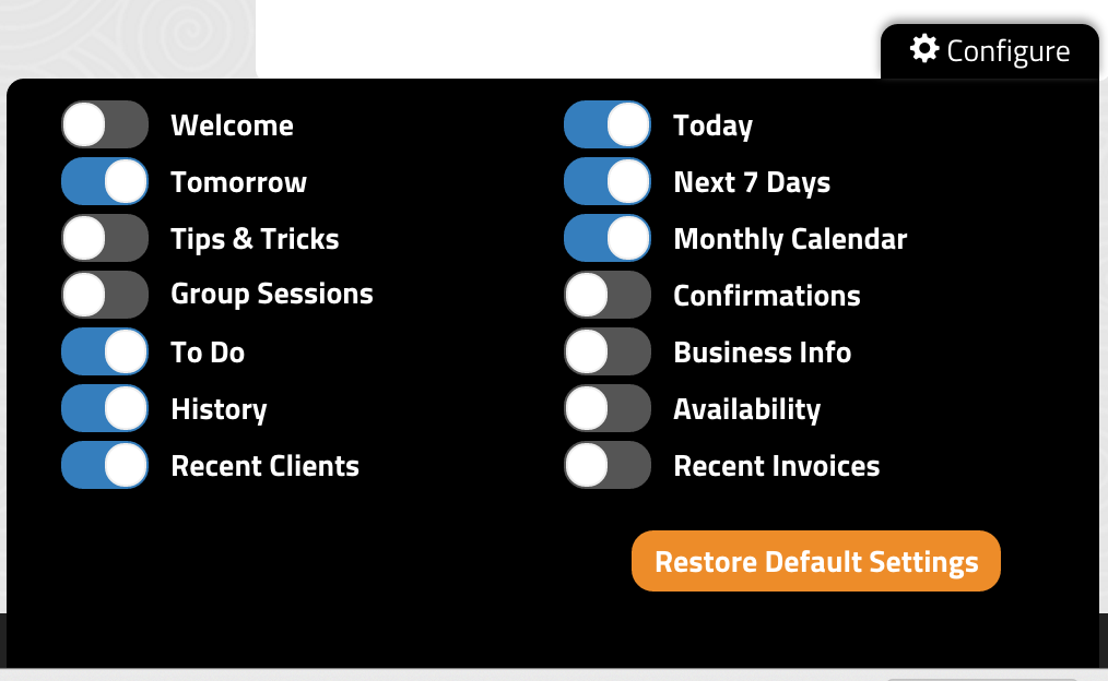 Configure Dashboard