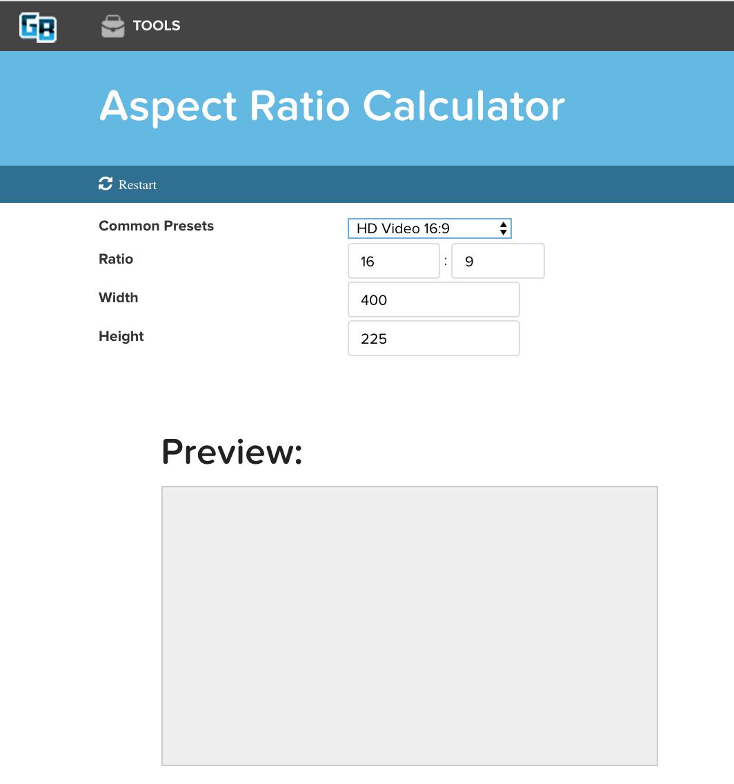 Free Aspect Ratio Calculator Gigabook