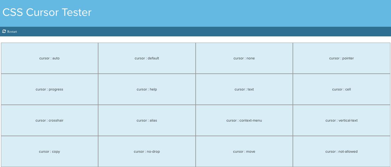 CSS Cursor Tester