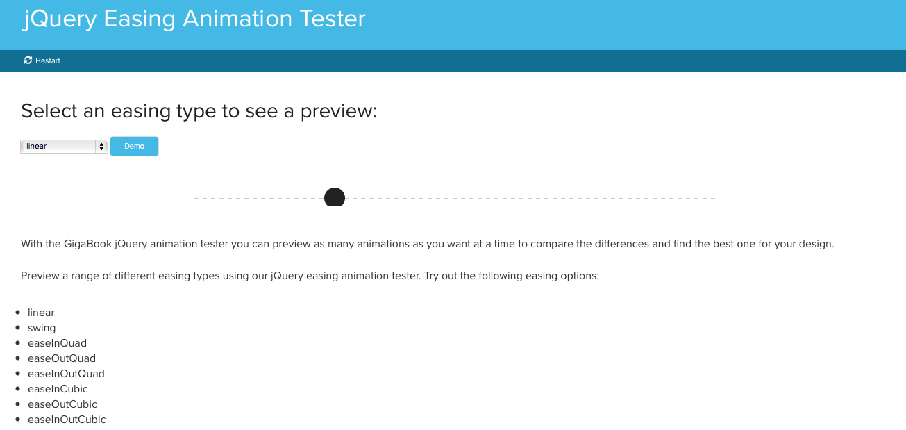 jQuery Easing Animation Tester