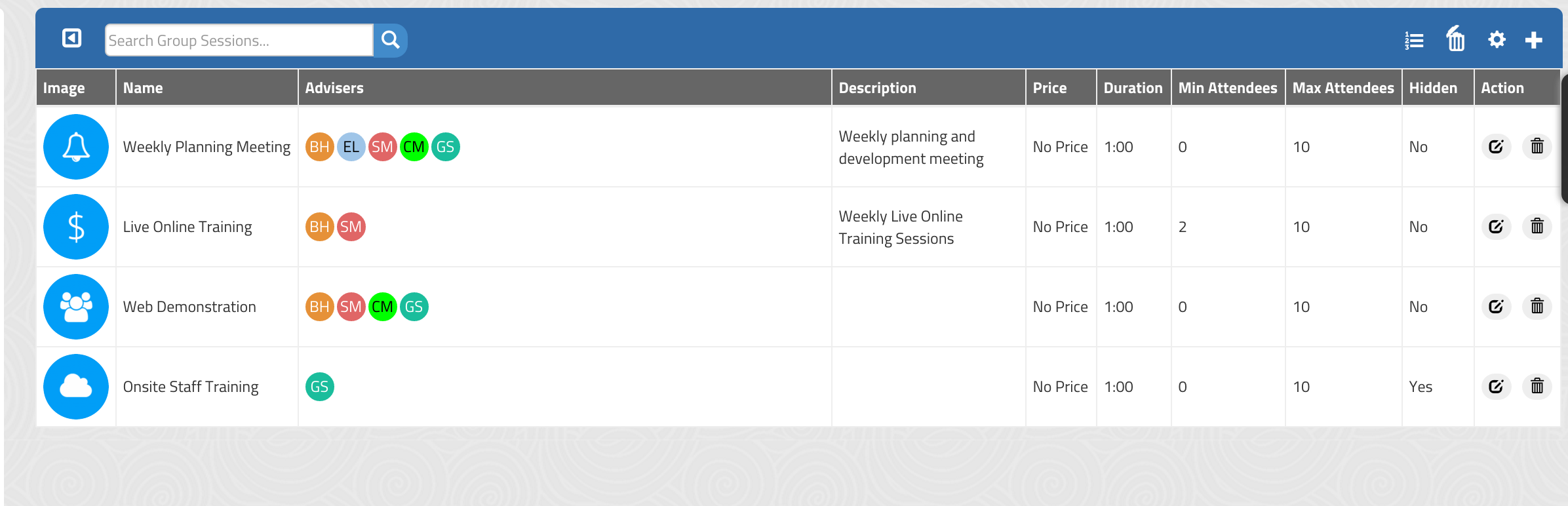 Group Sessions Management Page