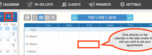 Add Appointments by clicking the GigaBook Calendar