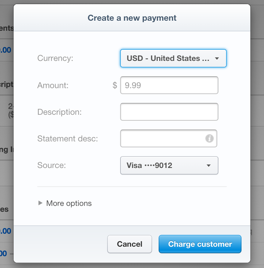 Creating a payment on Stripe
