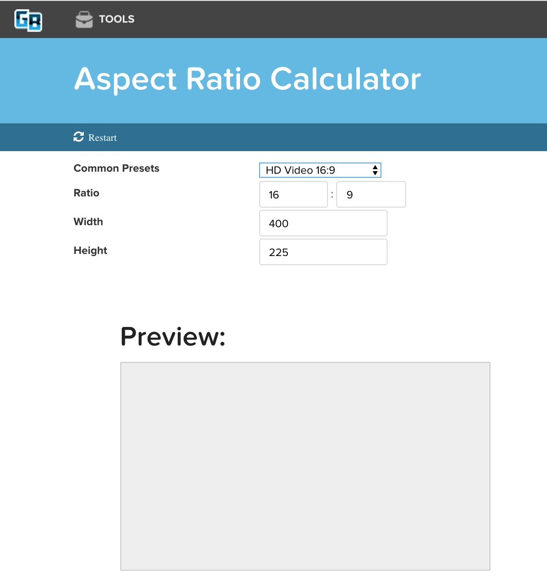 Aspect Ratio Calculator Free Online Tools For Website Designers And Developers