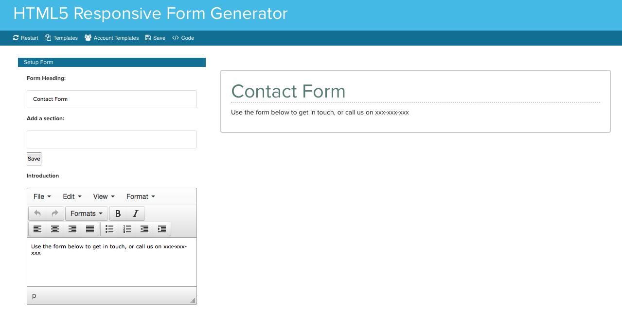 HTML5 Responsive Form Generator